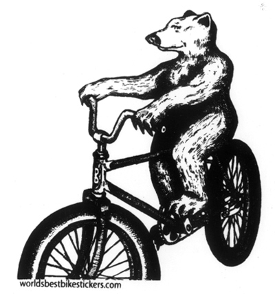 Bear On A Cruiser Bike Sticker Peace Supplies