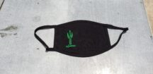 "handmade fair trade black face mask with a green, screen printed design on the left-hand side of the mask of a two-limbed sugaro with the word, ""endurance"" below it in cursive."