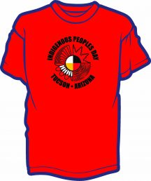 Red shirt with colored text on front and back for Indigenous People's Day 2021