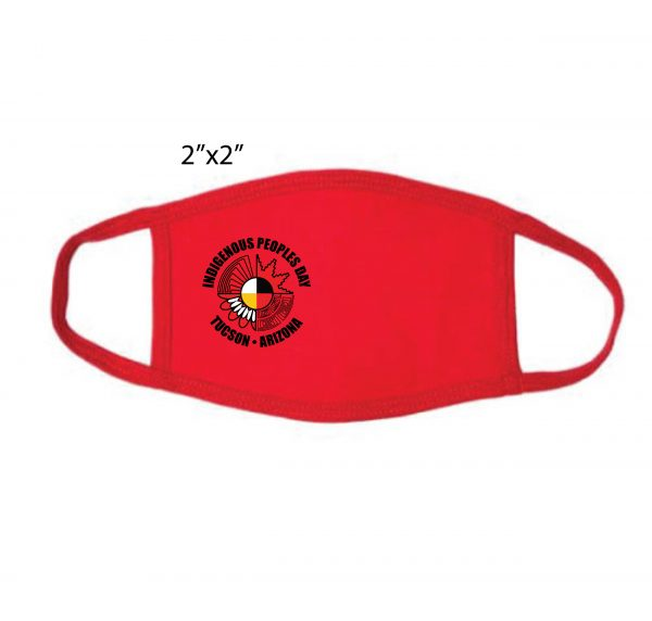 Red Mask with indigenous people's day logo